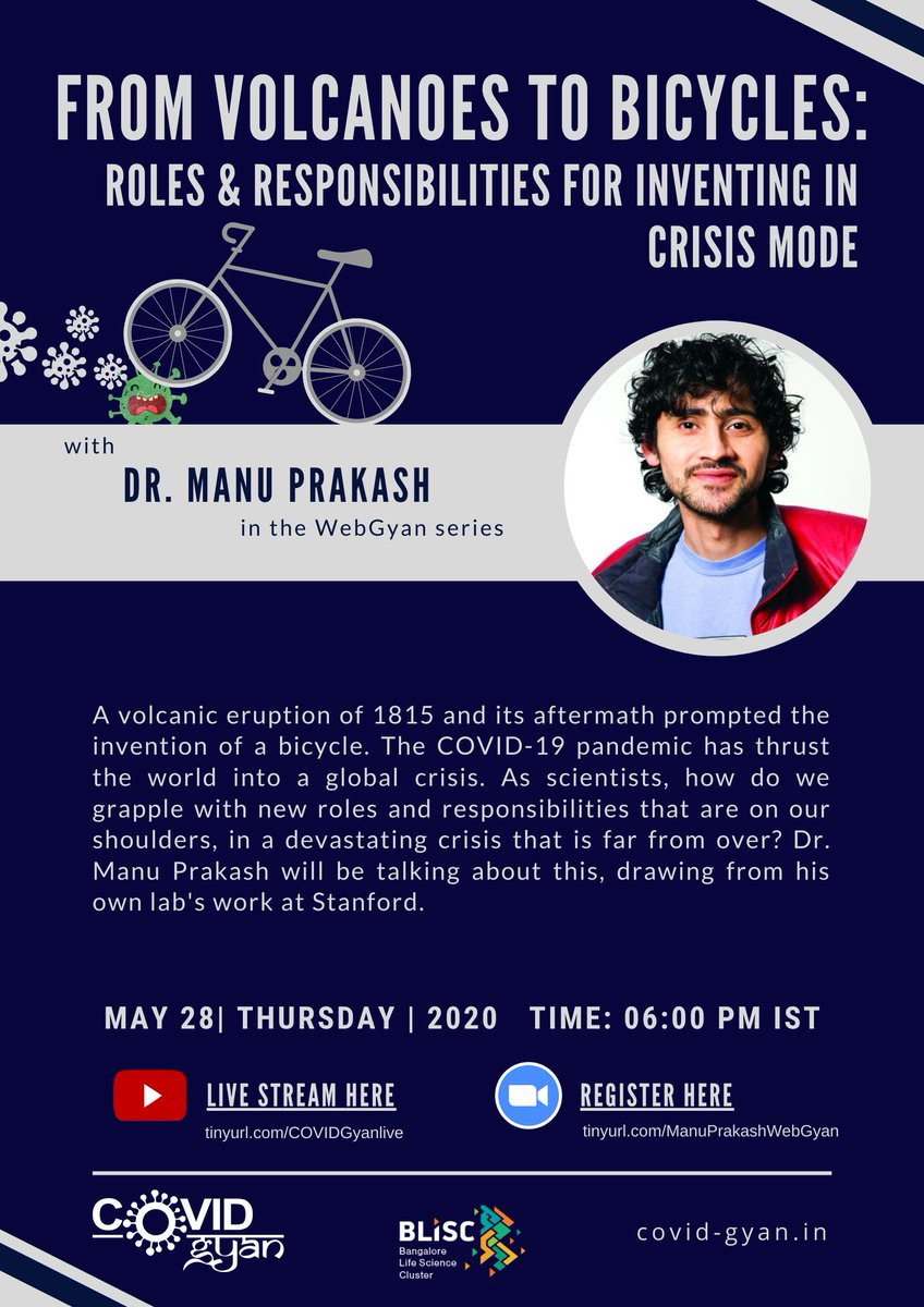 Announcing the next #WebGyan session! We have Manu Prakash @PrakashLab, talking about inventing during times of crisis. His lab focuses on frugal science (hint, @TeamFoldscope), check out what that means in the context of #COVID19 & register: tinyurl.com/ManuPrakashWeb… #COVIDGyan