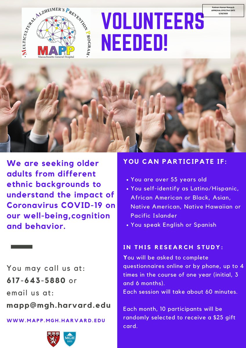 The Multicultural Alzheimer's Prevention Program is conducting a study with ethnically diverse older adults to examine the impact of #COVID19 on wellbeing and cognition. See flyer for details. @MGHmapp https://t.co/5GnJMPaoDY