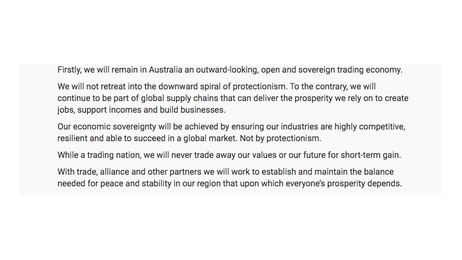 Australian Prime Minister Scott Morrison has recommitted to an outward-looking, open and sovereign trading economy and viciously rejected protectionism in a landmark speech. He also commits to not trade away our values.