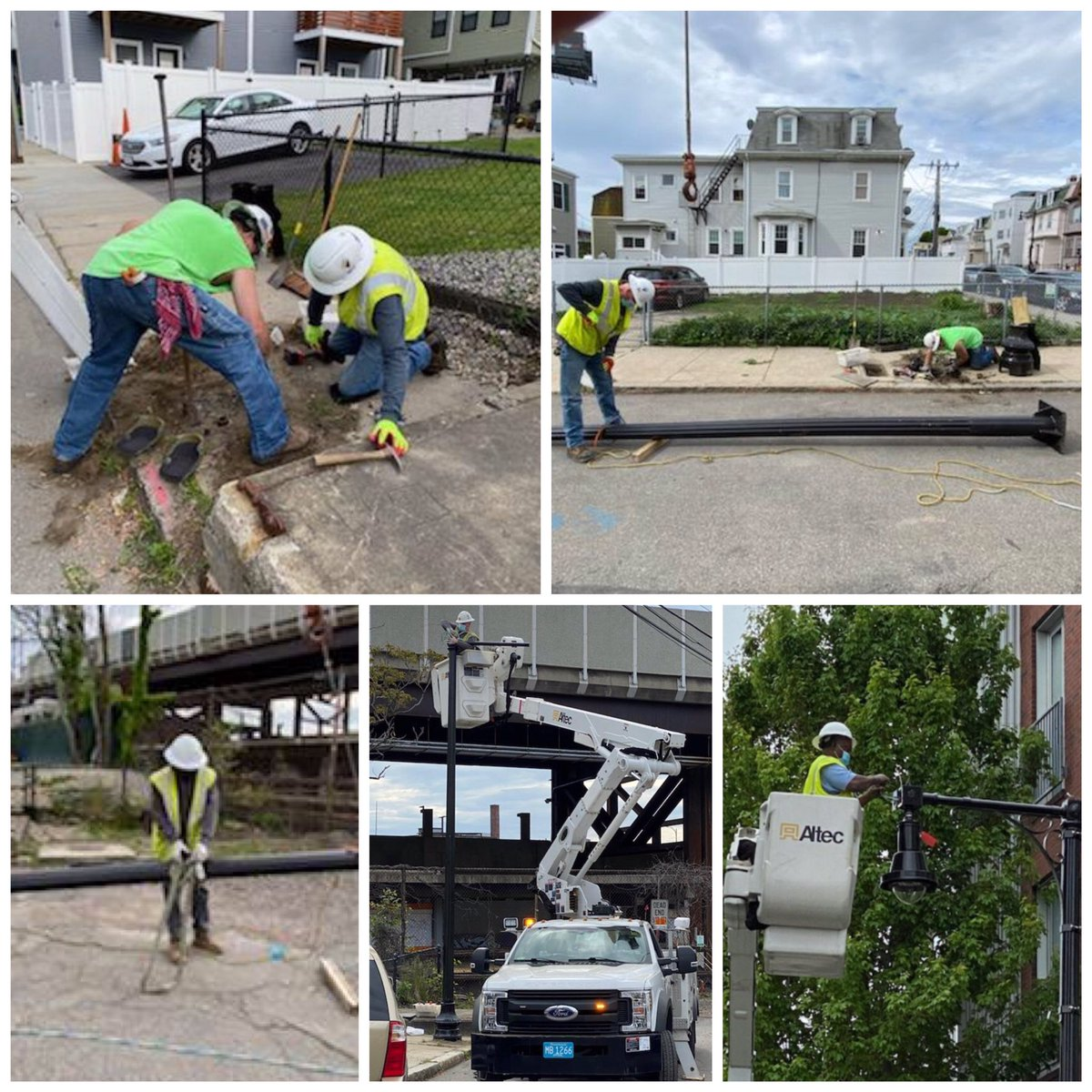 PWD's Street Lighting Division was  busy making lighting upgrades on Perkins St. in #Charlestown. Pics below of crews installing decorative pendant fixtures.pic.twitter.com/mHDcpfjoTf