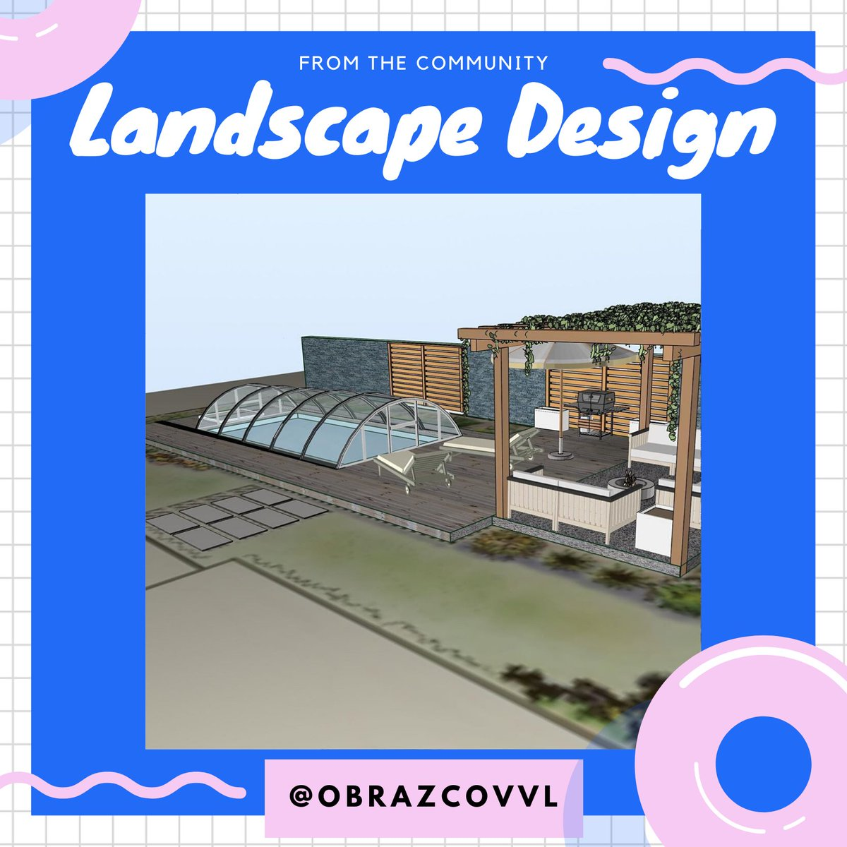 Summer is just around the corner! ☀️ This landscape design with a beautiful pool 🏊 made by Vlad Obrazcov IG: obrazcovvl  using @uMakeXYZ and @MorpholioApps - #cad #3dcad #ipadpro #3ddesign #architecture #landscapedesign