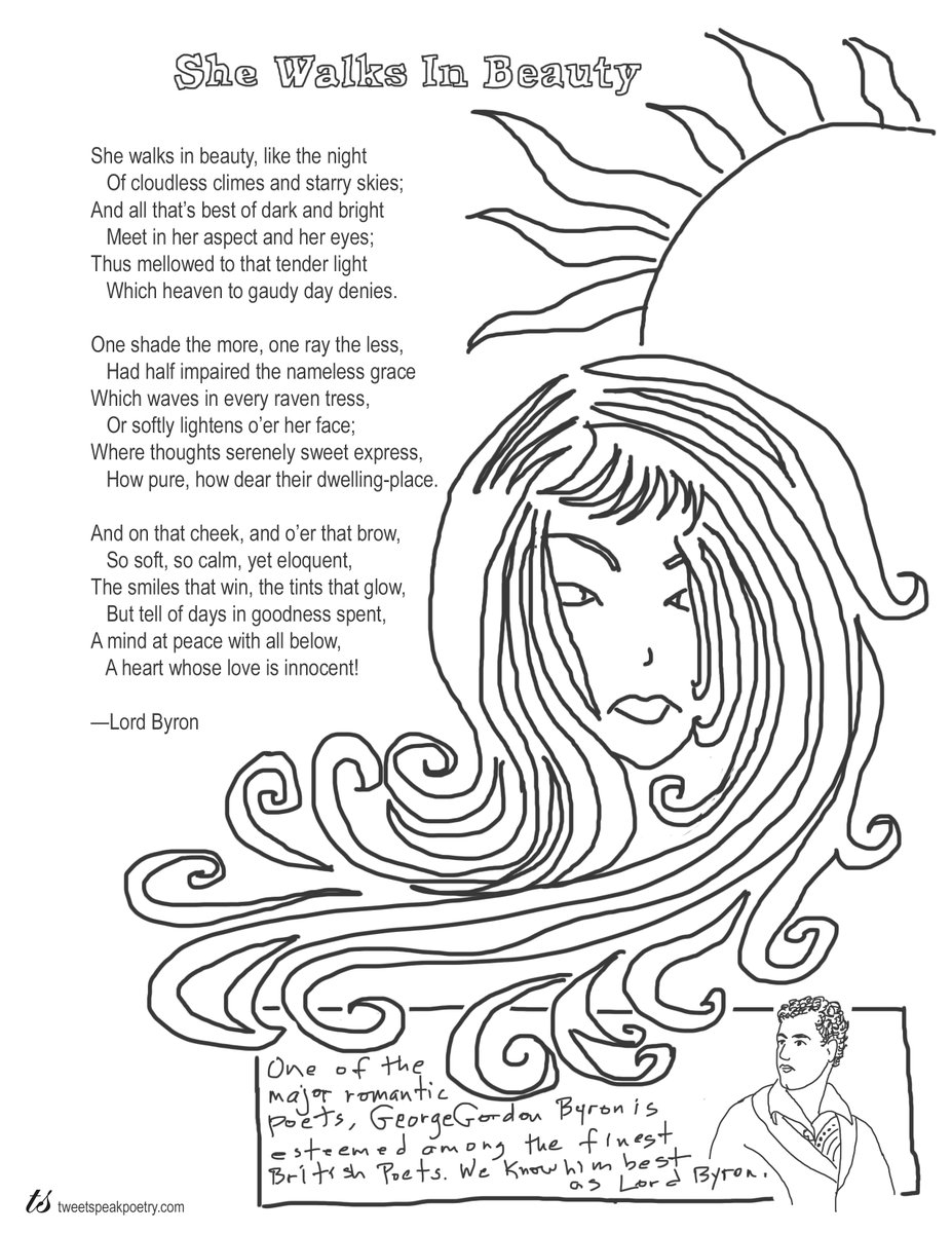 "Coloring Page Poem: Lord Byron's ""She Walks in Beauty""  https://bit.ly/3ejfgTm    #poems #poetry #coloring #learningathome #kidsathome #teachers #homeschooling #coloringpages pic.twitter.com/z4f4S3lZgs"