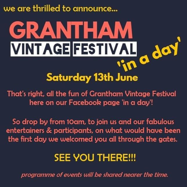 This year was to be our first #vintagefestival, sadly this can't happen, however ... @GranthamJournal @MattersGrantham @granthamtownfc  @CofELincoln @JayHulmePoet @VioletImpact please share! https://t.co/jKxW2ThOqs