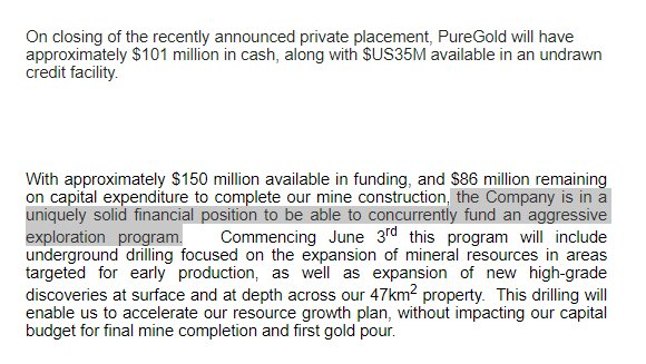 #PUR  On track, fully funded to begin production Q4 2020 Target production- 100,000oz+ per annum  Mine Development ongoing  A further $27m has recently just been invested to AGGRESSIVELY DRILL Deeper prospects   Drilling starting NEXT WEEK (3rd June)  https://www.investegate.co.uk/pure-gold-mining-inc--pur-/rns/c-12-3m-raised-from-the-exercise-of-warrants/202005260700149074N/…pic.twitter.com/0E74jz73Ny