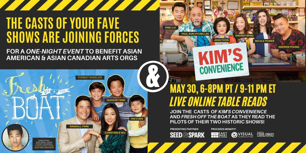 The casts of @KimsConvenience & @FreshOffABC are celebrating #AsianHeritageMonth with LIVESTREAMED TABLEREADS of our pilot episodes followed by an exclusive Q & A to raise funds for Asian American/Canadian arts orgs @reelasian @ewplayers &@vcmedia!