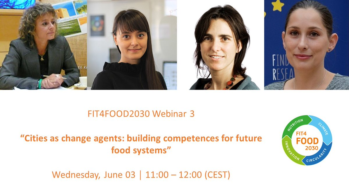 📢 #FIT4FOOD2030 has launched a 𝐅𝐑𝐄𝐄 webinar series. The third webinar explores cities as change agents and building competences for future #foodsystems. #FOOD2030EU ⏰ When? Wednesday, June 03, 11:00-12:00 CEST More info & registration here: events.streamgo.co.uk/FIT4FOOD2030-w…