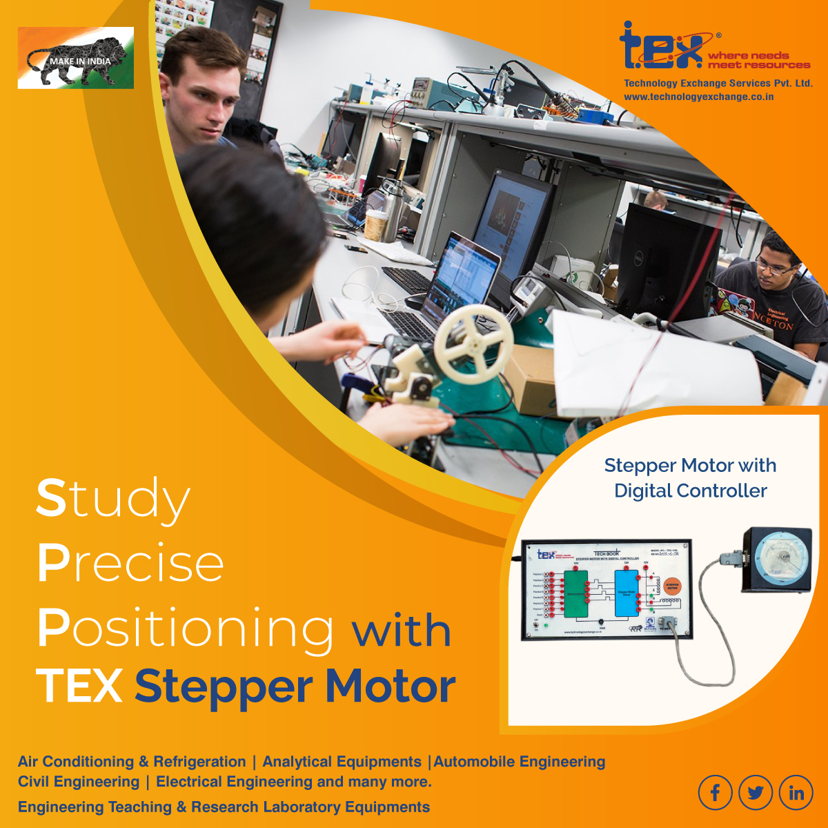 Trust Tex for effortlessly synchronizing with the pulse signal output for getting accurate results.  #steppermotor #digitalcontroller #electronicequipment #electronicsengineering #electronics #engineering #labequipment #laboratoryequipments #equipment