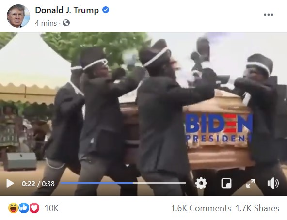 Trump just posted an insane video on Facebook featuring Joe Biden in a coffin