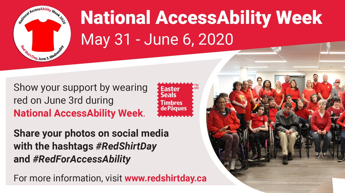 #RedShirtDay for National AccessAbility Week is Wednesday, June 3rd! Please remember to wear your red shirts, and tag us! https://t.co/h9tQovA3bb