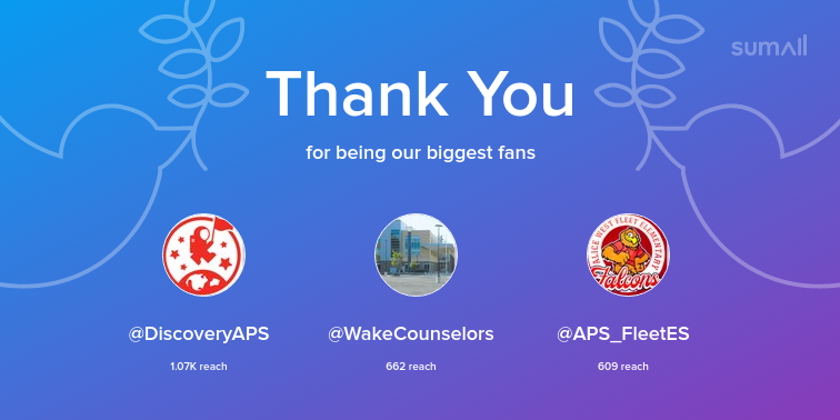 Our biggest fans this week: DiscoveryAPS, WakeCounselors, APS_FleetES. Thank you! via <a target='_blank' href='https://t.co/J0OwOPTISF'>https://t.co/J0OwOPTISF</a> <a target='_blank' href='https://t.co/MfyAOR4t7W'>https://t.co/MfyAOR4t7W</a>