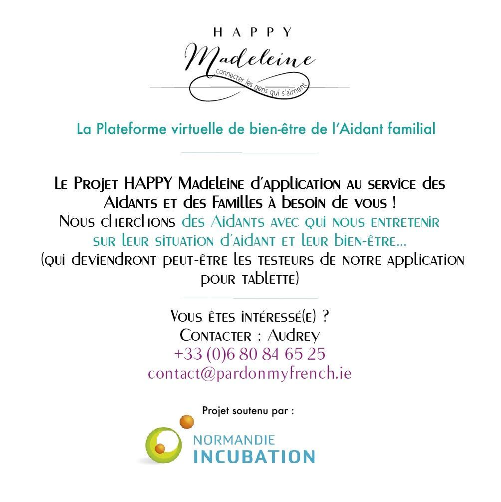 Le #projet Happy Madeleine recherche des #aidants de personnes âgées avec qui s'entretenir dans le cadre du développement de leur…