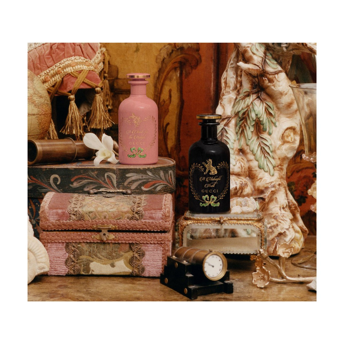 Joining #GucciBeauty's #TheAlchemistsGarden collection are new scents 'A Midnight Stroll' and 'A Chant for the Nymph'—both possessing the power to transport the imagination to emotions connected with their hero ingredient: Incense and Frangipani flower. https://on.gucci.com/_thealchemistgarden2020… pic.twitter.com/q5PU4Fv4TB