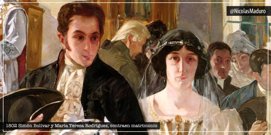Hace 218 años, el Padre de la Patria Simón Bolívar, contrajo matrimonio con su amada María Teresa Rodríguez del Toro y Alaiza. Una unión marcada por el amor y la pasión que acompañó por siempre a nuestro Libertador.