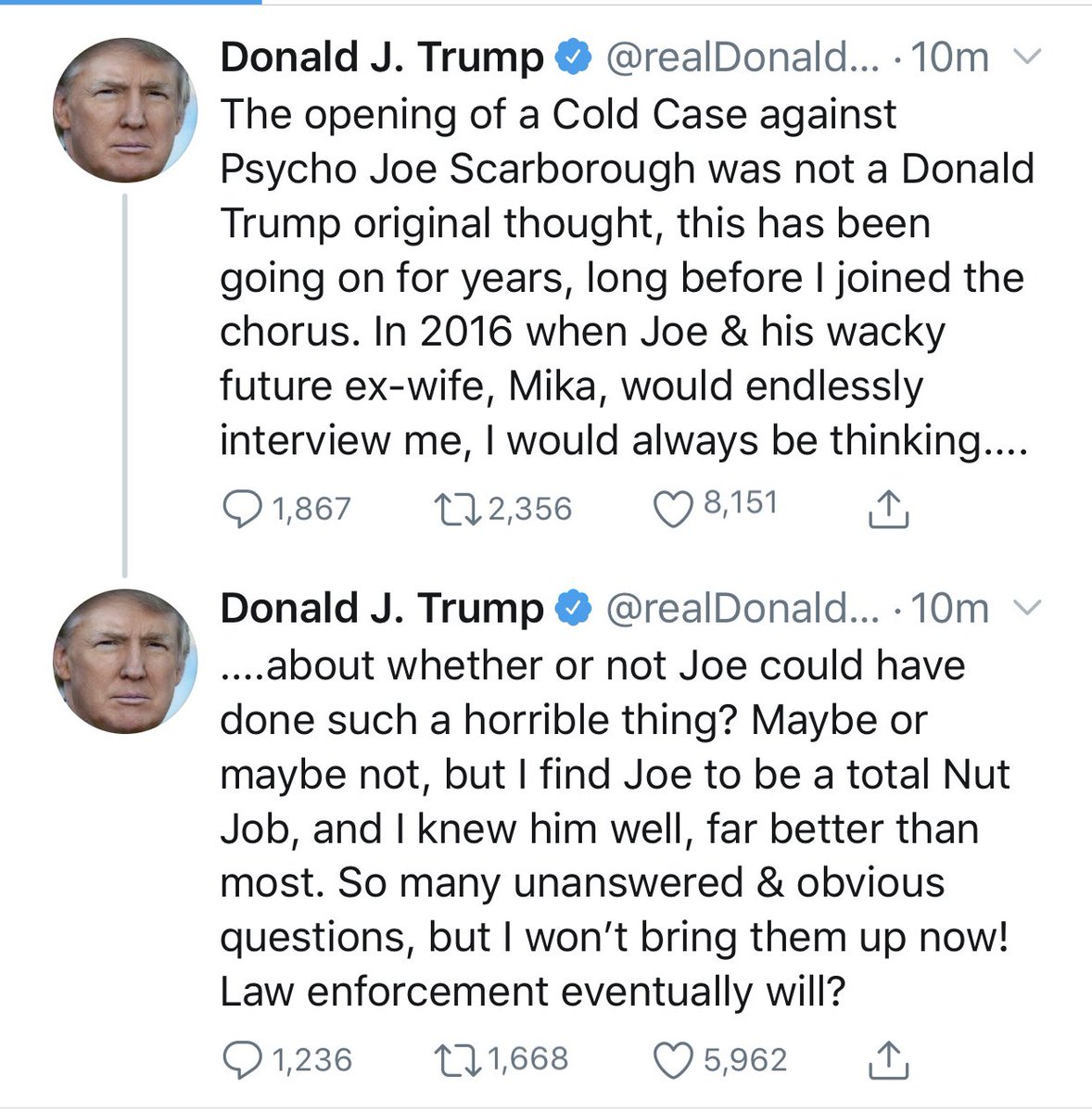 The widower asked @jack to have the previous tweet removed and then Trump tweeted about it again