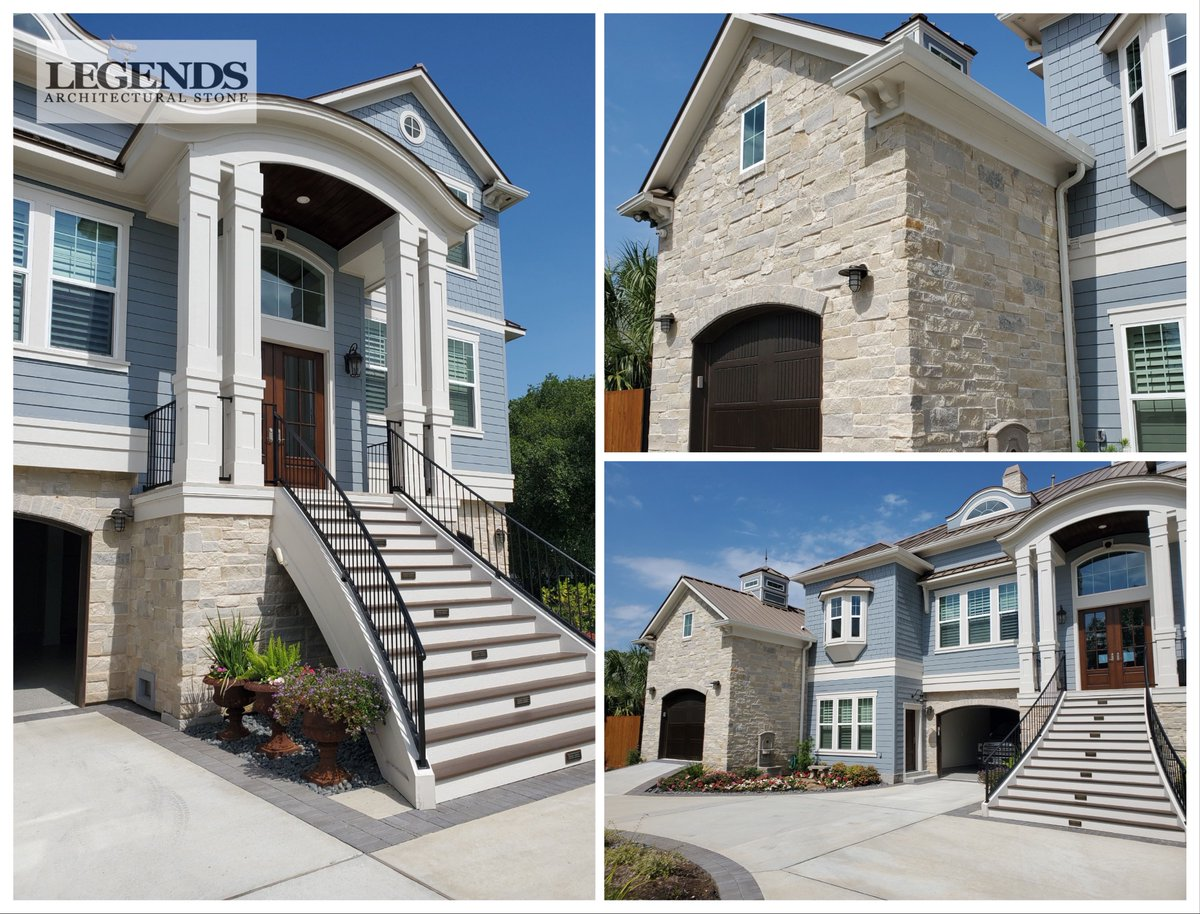 Another beautiful home located on the bay supplied by Legends Architectural Stone. A custom blend offered with a personal touch by the homeowner. For more information about our natural stone products please call 281-377-3434 x106 or email info@LegendsStone #TimelessBeauty pic.twitter.com/r2UWZo7uIK