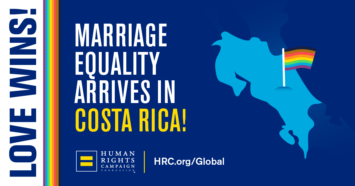 BREAKING NEWS: Costa Rica has made marriage equality the law of the land.  Thank you, Costa Rica, for reaffirming that #LoveIsLove! https://www.hrc.org/blog/hrc-celebrates-marriage-equality-in-costa-rica …pic.twitter.com/LygIeFyZQf