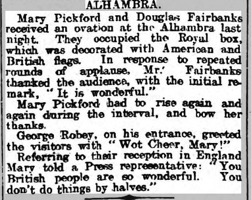 Mary Pickford, in the 23 Jun1920 Nottingham Journal, noting the reception she & husband Douglas Fairbanks received in England during their honeymoon, You dont do things by halves. #100Years #Alhambra @aladyofchance @best2vilmabanky @kenbioscope theFourthMusketeer.com