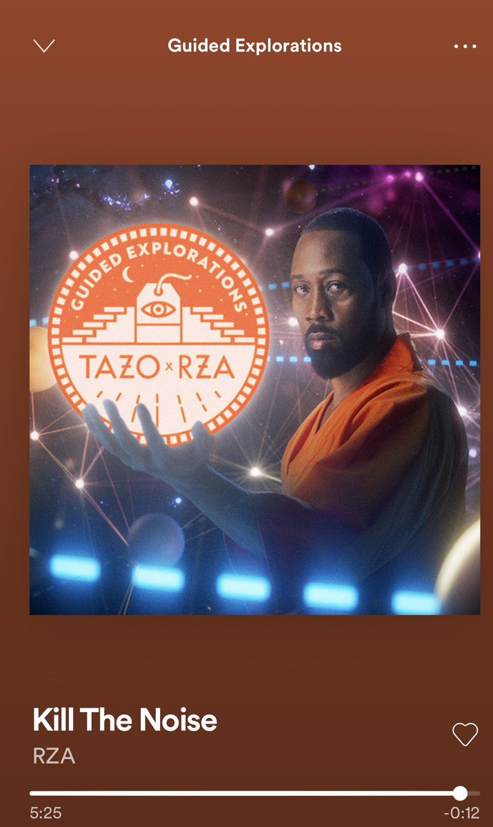 """Stopped on my walk this morning to do a 5 minute meditation by The @rza on Dealing with the Distraction that surrounds you & stifles your creativity. """"Kill The Noise"""""""