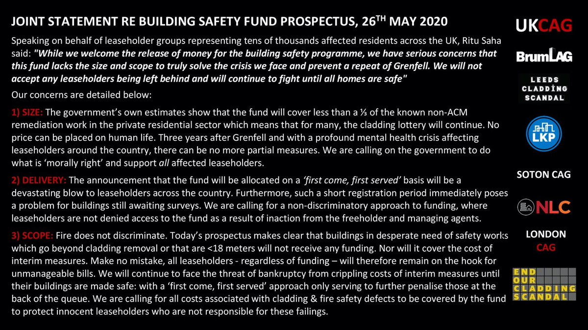 ❗️Please see our response to the building safety fund prospectus that was released today 👇🏼👇🏼 #endourcladdingscandal