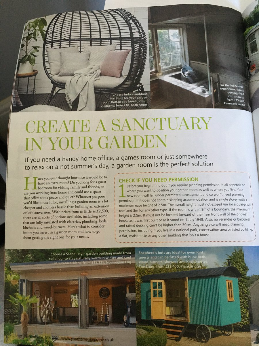 Surely it's the perfect time to create that garden sanctuary?...nice to be included in a @your_home feature this month  Be in touch if you are looking for any sauna advice and planning questions - we are here to help...#gardendesign #gardeninspiration #sauna #saunatimepic.twitter.com/t9NFFiyukQ