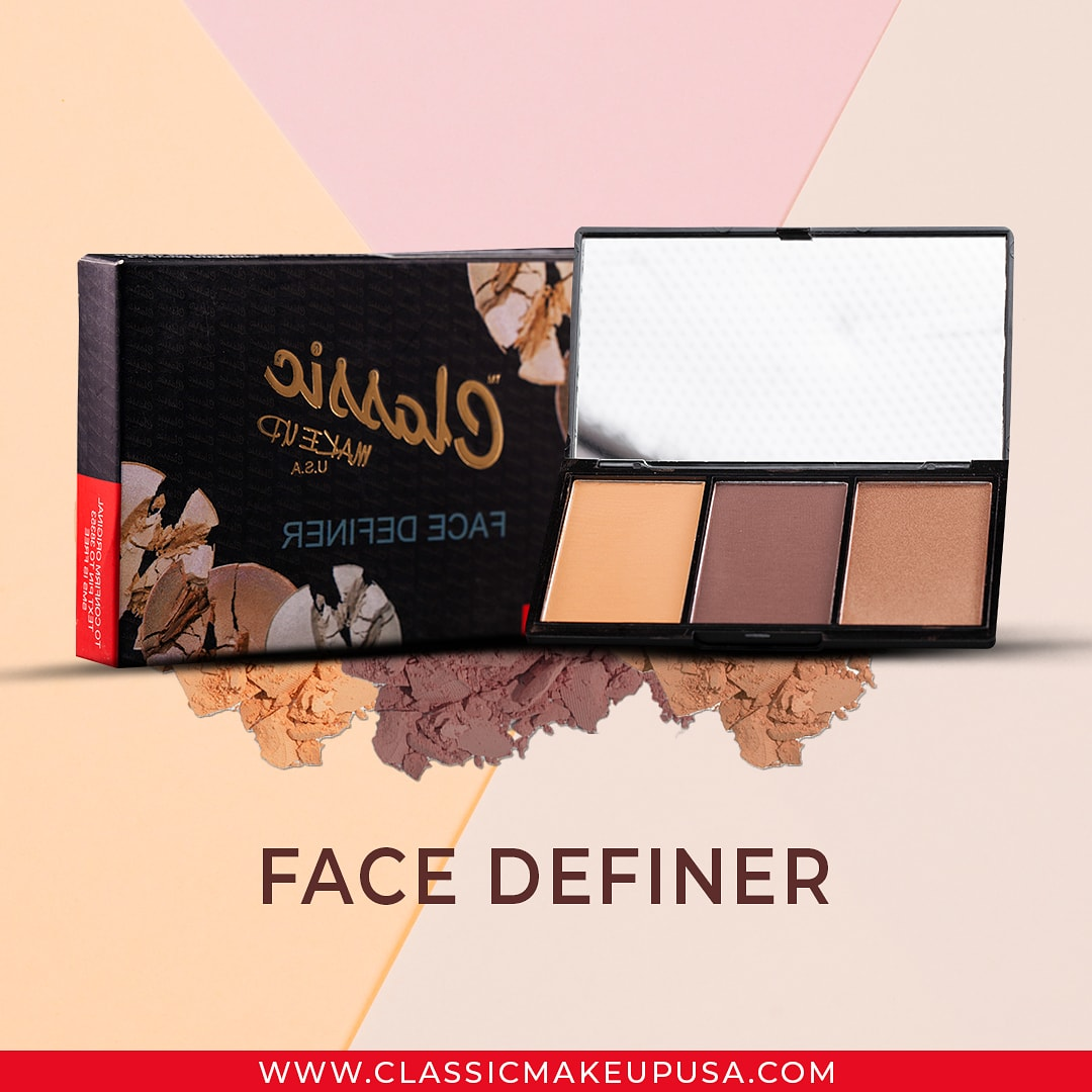With multi-tasking elements such as contour powder, highlighter and/or blusher or bronzer, The Classic Makeup USA Face definer  is the ultimate face definition kit in one neat compact designed to suit all skintones.  Available in 3 Shades: Light, Medium and Dark.