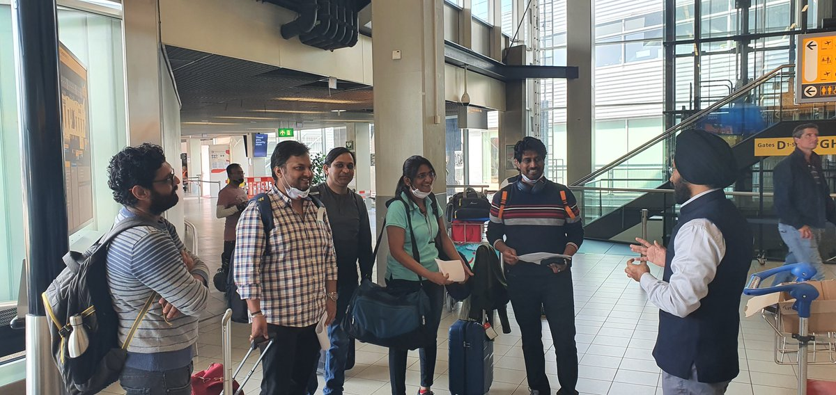 Exuberant Indian nationals interacting with Embassy official at Amsterdam airport on their way home by the special @KLM flight to Mumbai under #VandeBharatMission #TeamIndia @MEAIndia @DrSJaishankar @IndianDiplomacy @venurajamony