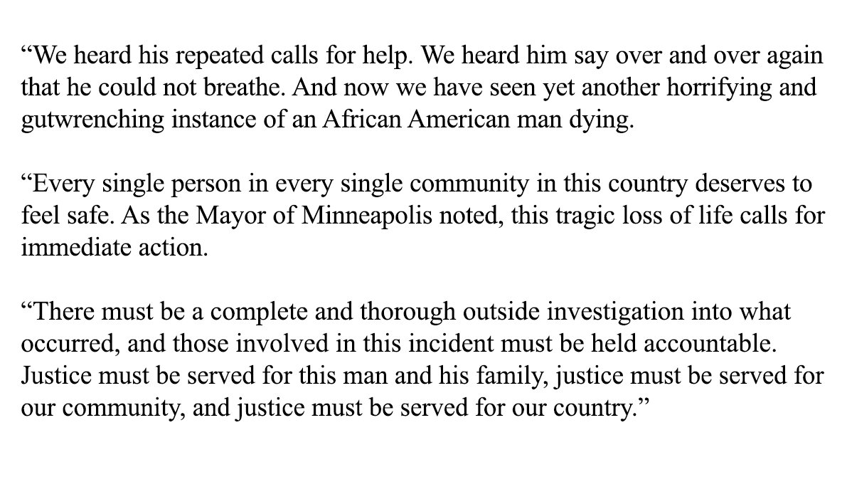 My statement on the officer-involved death in Minneapolis: https://t.co/HUoGfXEj7R