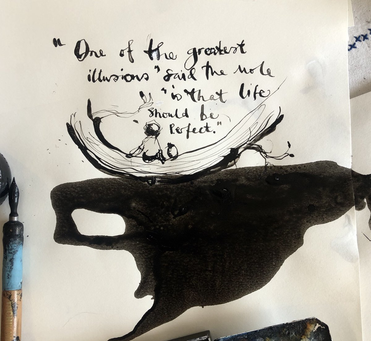 I spilt a new bottle of good ink today. Tried to make the most of it.