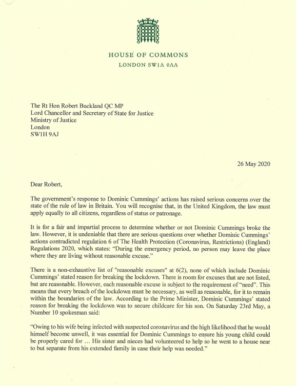 Today I have written to the Lord Chancellor @RobertBuckland. Is it now legal for all families, with one or more parent suffering from covid-19 symptoms, to travel to a location of their choice? The law must apply equally to all citizens, regardless of status or patronage.