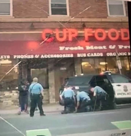 This unverified image appears to show another angle of the police killing in Minnesota. There were THREE officers on top of an unarmed George Floyd. https://t.co/6gwAtxDaV9