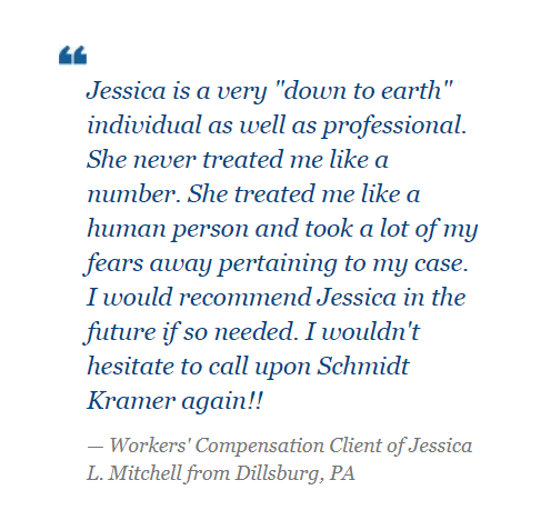 Read a recent review from a workers' compensation client of Jessica L. Mitchell. https://www.schmidtkramer.com/testimonials/ pic.twitter.com/2enB1FD9VQ