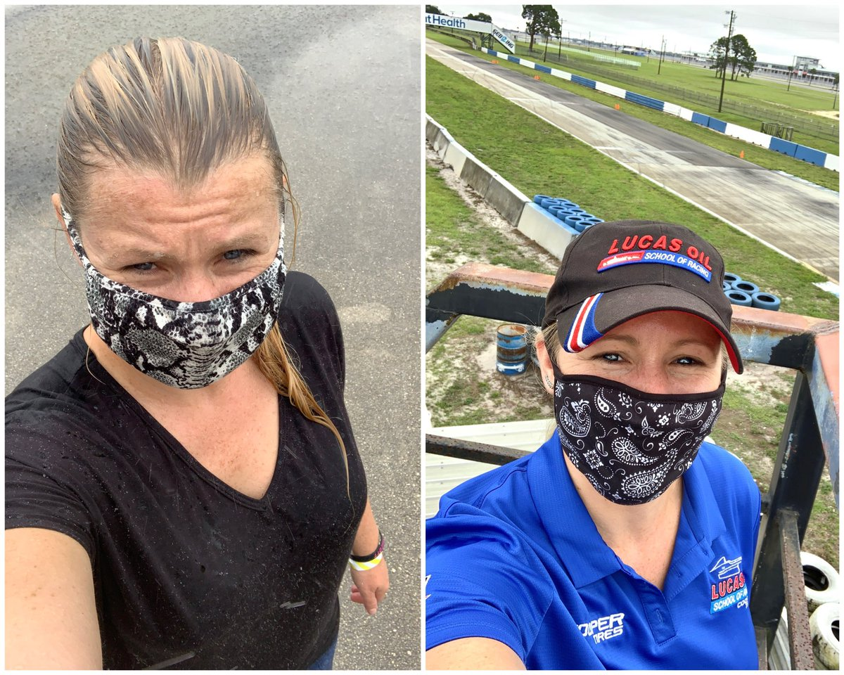 Yesterday    Today  Set up day in the pouring rain yesterday, versus getting to coach race cars on a race track today. And people saw you can't see emotions when someone is wearing a mask...   #MaskingForAFriend #Coaching #BackAtTheRaceTrackpic.twitter.com/JSkkHfP3io