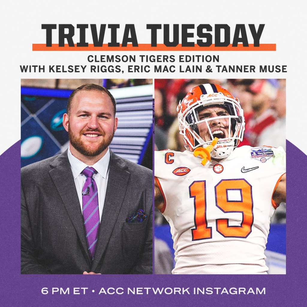 Clemson Tiger Trivia with @kelseyriggs, @EricMacLain & @tanner_muse 🐅🐅  6️⃣ PM ET 📲 https://t.co/rj3Rb0k0zN https://t.co/1625wLfQ0m