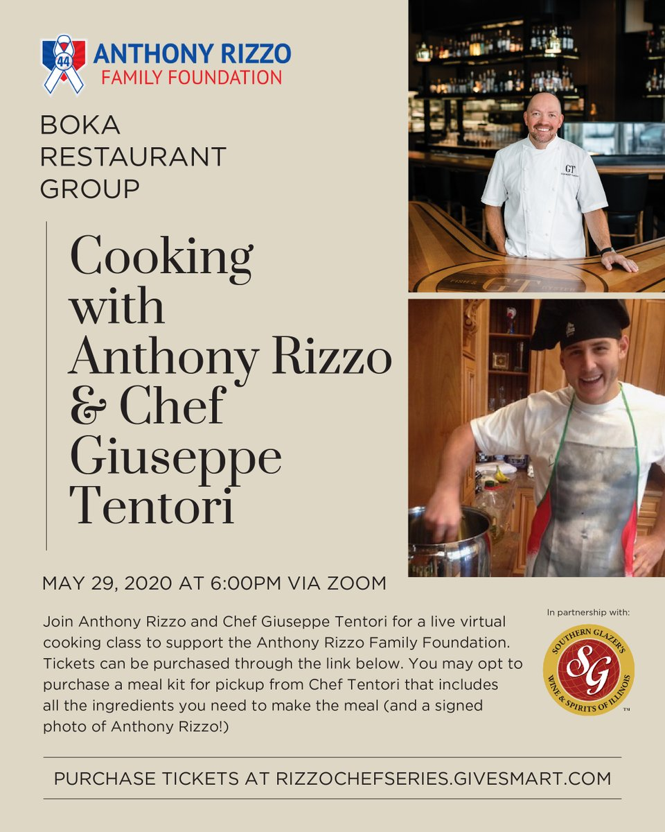 ALMOST SOLD OUT!!!! We are making Chef Giuseppe Tentoris Chicken Saltimbocca with mashed potatoes and roasted carrots. YUM!!! Meal kits come with all the ingredients, an AUTOGRAPHED ANTHONY RIZZO PHOTO, GTs special sauce and a yummy dessert! RizzoChefSeries.givesmart.com