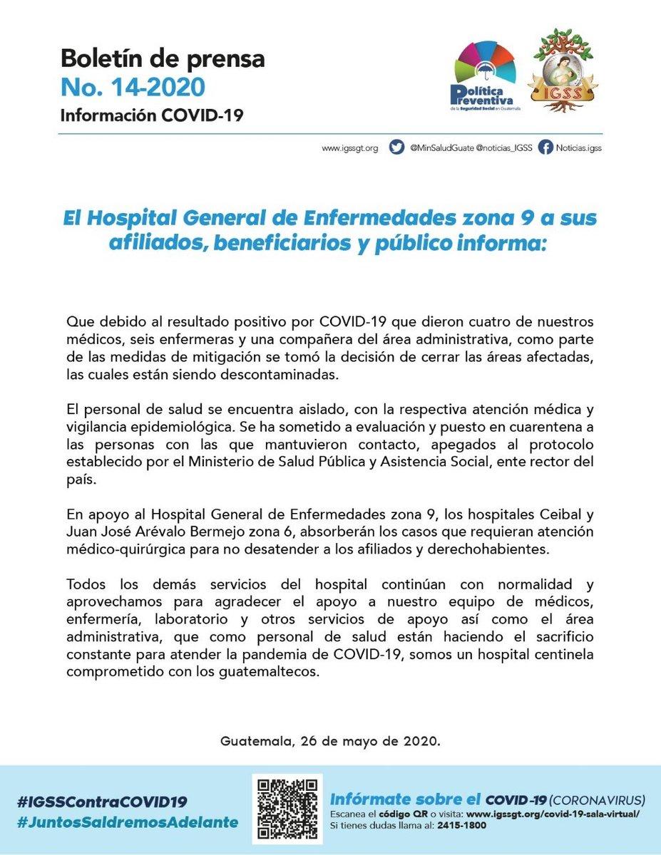 test Twitter Media - El IGSS informa que 4 médicos, 6 enfermeras y 1 trabajadora del área administrativa dieron positivo a COVID-19 en el Hospital de Enfermedades de zona 9. https://t.co/Zav73IzgPq