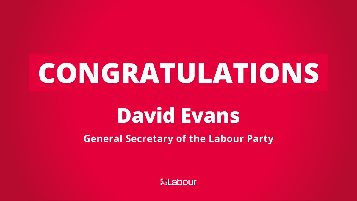 Congratulations to David Evans who has been appointed as Labour's new General Secretary 🎉
