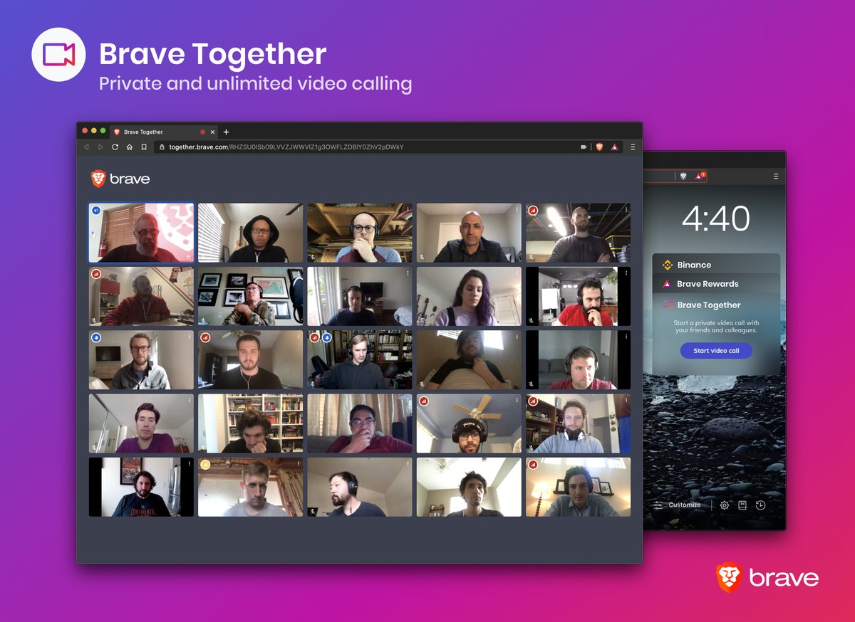 Our Nightly version for North America now features Brave Together, our private and unlimited video calling service based on open source @jitsinews. Click on the widget & start connecting with friends/colleagues. Feedback welcome at community.brave.com/c/nightly-buil… for this trial version.