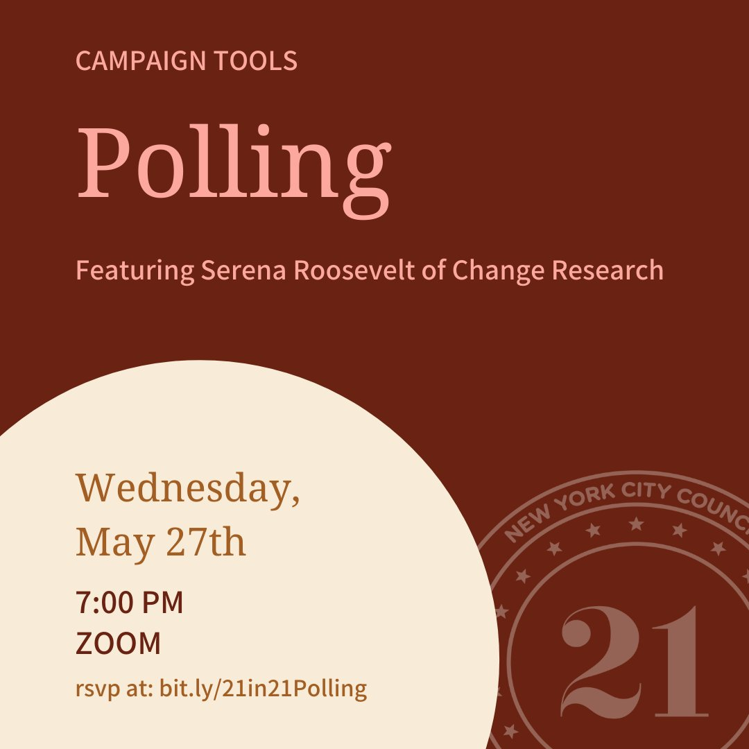 Join us tomorrow to get inside insights on using polling in campaigns from Serena Roosevelt at @ChangePolls. RSVP at https://t.co/KaJ8VubTcJ https://t.co/Ihu2MQecH4