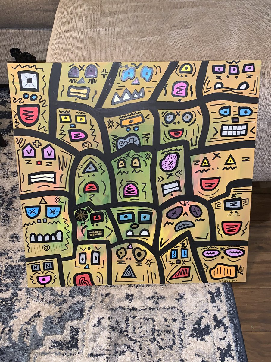 ACRYLIC ON LARGE WOOD PANEL #ACRYLIC #WOOD #PAINTING #PAINT #ART #TRIPPY #ABSTRACT #MIXEDMEDIA #POPART #NEWAGE #CANAS #GALLERY #STARVINGARTIST #quarentine #MIAMI #FLORIDA #LOCAL #livingartist #COLOR #MARKER #FACES #psychedelic #PATTERNS #expressionism #INSTART #pictureoftheday