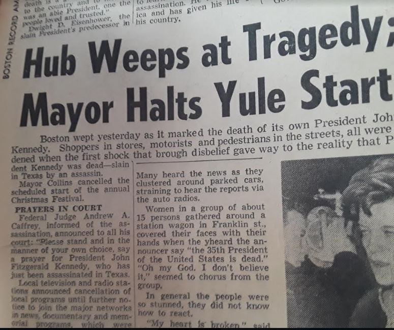 """This particular article from the Nov 23, 1963 #Boston Record American has some really poignant excerpts abt the assassination. About """"15 women gathered around a station wagon...covered their faces with their hands when they heard..."""" pic.twitter.com/NfzFgFixM6"""