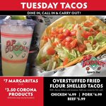 Stuff yo self with our new Overstuffed Tuesday Taco Special - $4.99 Chicken, $4.99 Pork, or $5.99 Beef Overstuffed Fried Flour Shelled Tacos! Plus, great drink specials. 𝗗𝗝'𝘀 𝗠𝗶𝗿𝗮𝗰𝗹𝗲 𝗛𝗶𝗹𝗹𝘀 𝗶𝘀 𝗡𝗢𝗪 𝗢𝗣𝗘𝗡 for dine-in or carry out! https://t.co/duqkoKx1Ac