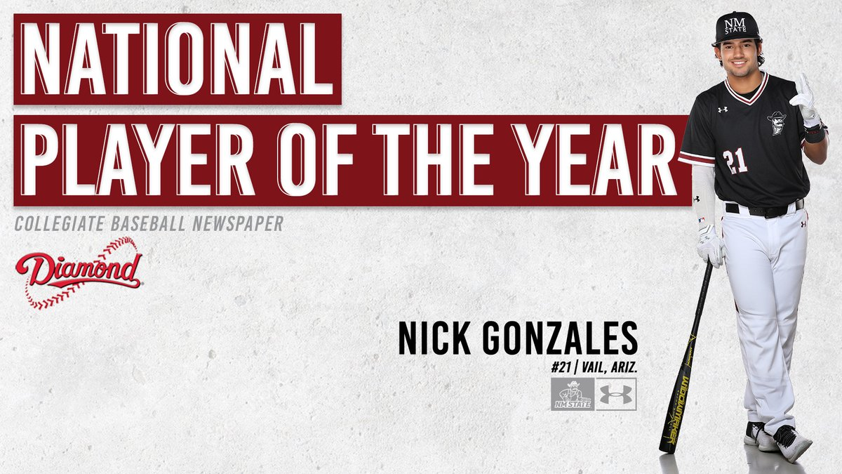 The best college baseball player in the country is a New Mexico State Aggie.  Nick Gonzales is Collegiate Baseball Newspaper's National Player of the Year. https://t.co/wM8obMiVnt