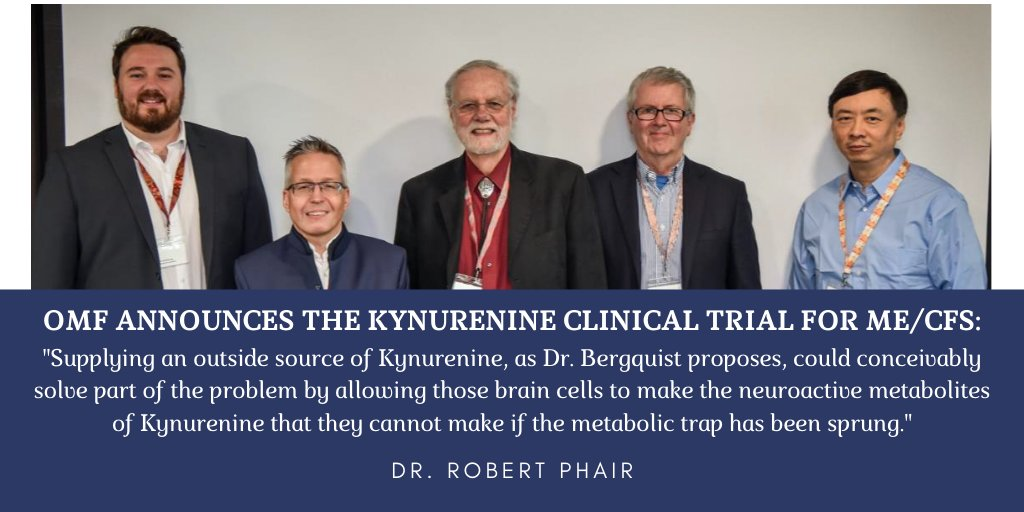 OMF is thrilled to announce the Kynurenine Trial for ME/CFS: Under supervision of Dr. Jonas Bergquist, the study aims to understand potential disturbances in the tryptophan metabolism & to test the benefits of treating people with ME/CFS with Kynurenine: https://bit.ly/3c6ROXI pic.twitter.com/m1UD7CacJ9