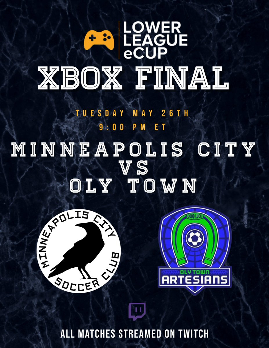 All to play for tonight! @mplscitysc and @OlyTownFC go head to head with a national championship on the line!  🏆 Xbox One Final ⏰ 9:00pm ET/8:00pm CT 🎮 @Jonah_Garcia5 vs. @AngelTrejo2017  📺 https://t.co/eTFiV2L0Mq 🎙️ @ThePeoplesPitch https://t.co/BBGnYGLxUn