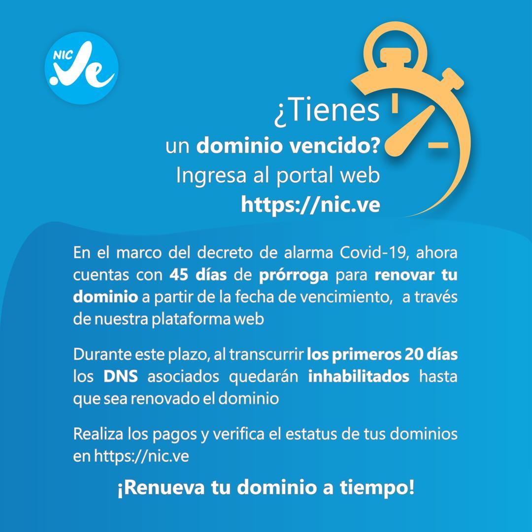📣¡Entérate! Ahora cuentas con 45 días de prórroga para la renovación de dominios. Ingresa a 👉 nic.ve y verifica la fecha de vencimiento de tus dominios .ve 📡 #ConatelInforma