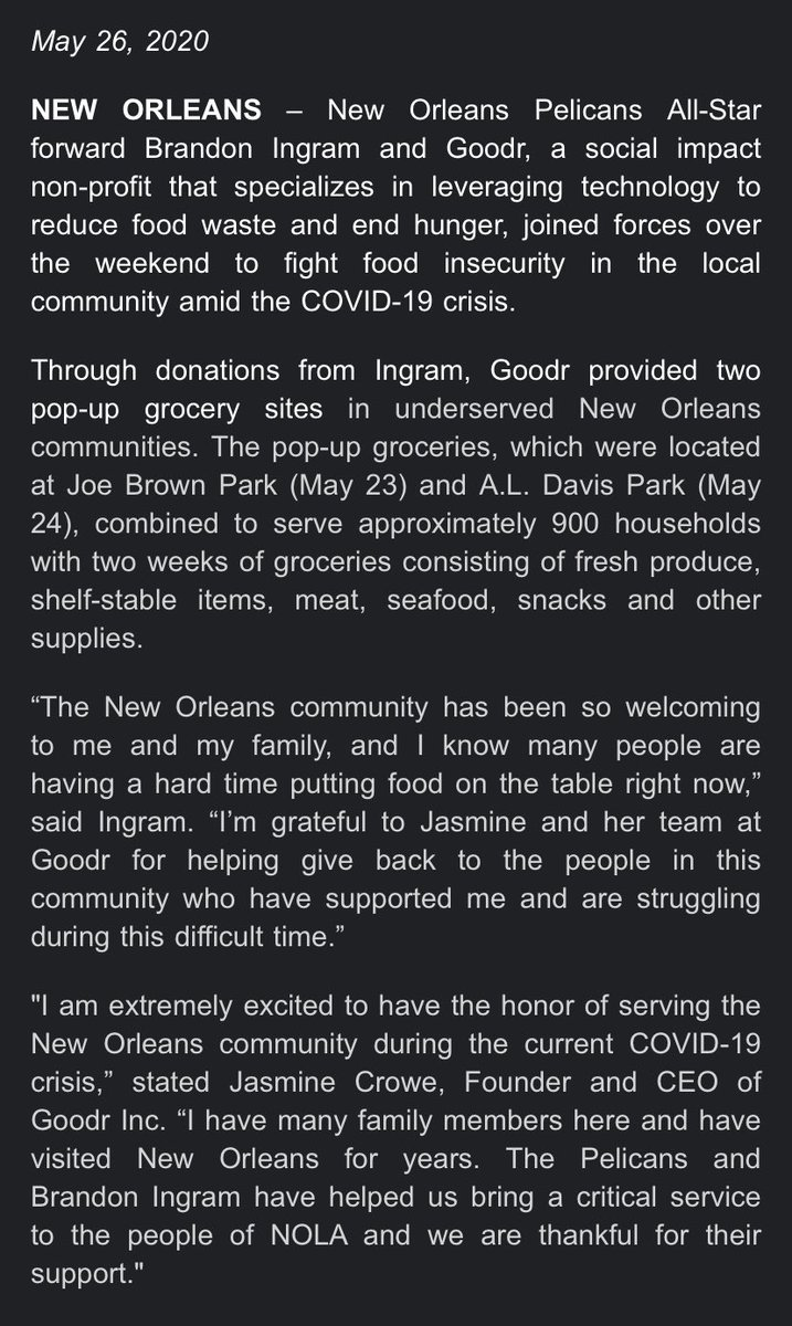 More details here about Brandon Ingram and Goodr handing out groceries in New Orleans East and in Central City. <br>http://pic.twitter.com/C0oTlNVFjd