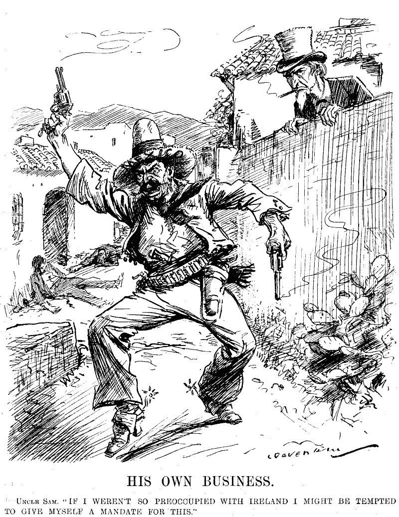 """Punch Magazine, Uncle Sam: """"if I wasn't so occupied with Ireland, I would give myself a mandate for this."""" Criticizing US meddling in #Mexico.pic.twitter.com/U6lXA4B99z"""