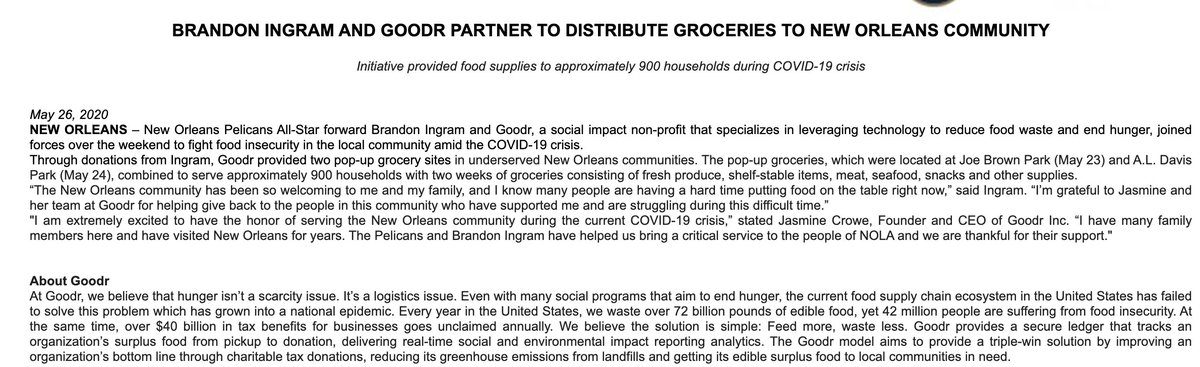 """Brandon Ingram worked with Goodr to provide 900 homes with groceries for 2 weeks in New Orleans East, Pelicans say.   Ingram: """"The New Orleans community has been so welcoming to me and my family, and I know many people are having a hard time putting food on the table right now."""" <br>http://pic.twitter.com/PIlhqizkaq"""