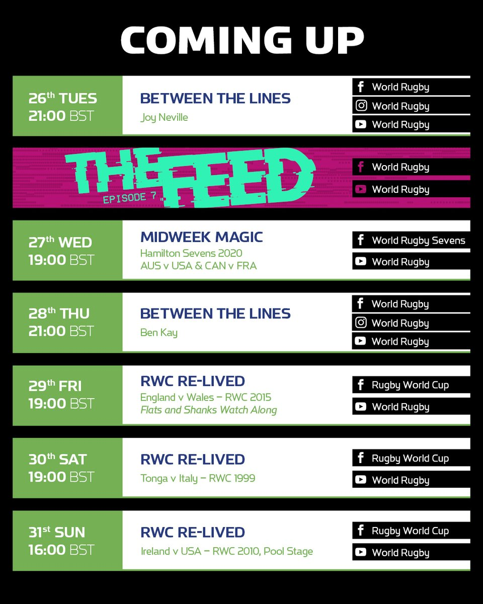 test Twitter Media - Here's what's coming up this week:  #TheFeed Episode 7️⃣ 3️⃣ more @rugbyworldcup matches in full 🏉 1️⃣ @TomShanklin & @davidflatman Eng v Wal watch-along special 👀 2️⃣ #BetweenTheLines interviews with @JoyNevilleRef & @BenKay5🎙 2️⃣ @WorldRugby7s game in full ⚡️ https://t.co/OdvKDlIyA2