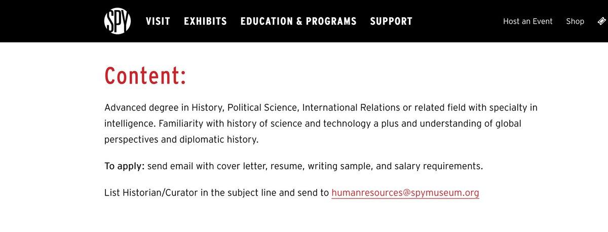 Historian/Curator position at the International Spy Museum, Washington, DC.   https://t.co/BrZtAvXSdx https://t.co/NenGlN4XNC